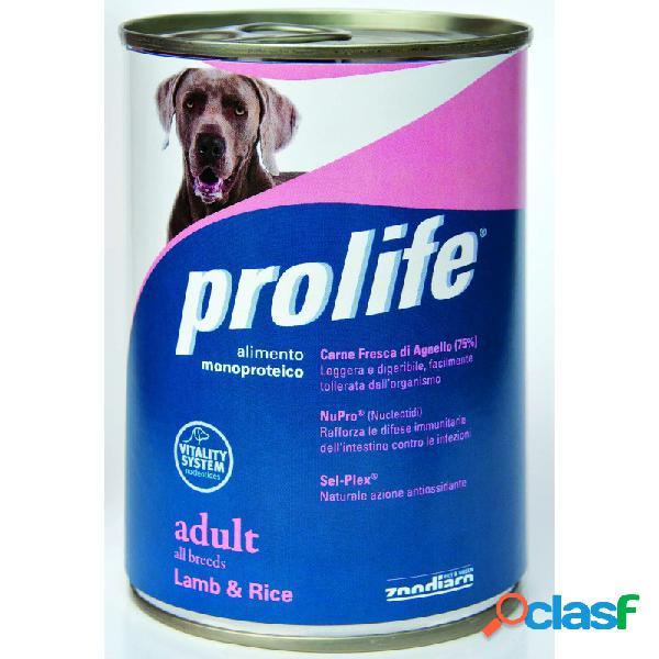 Prolife - prolife adult dog con agnello e riso umido 6 lattine da 400 gr