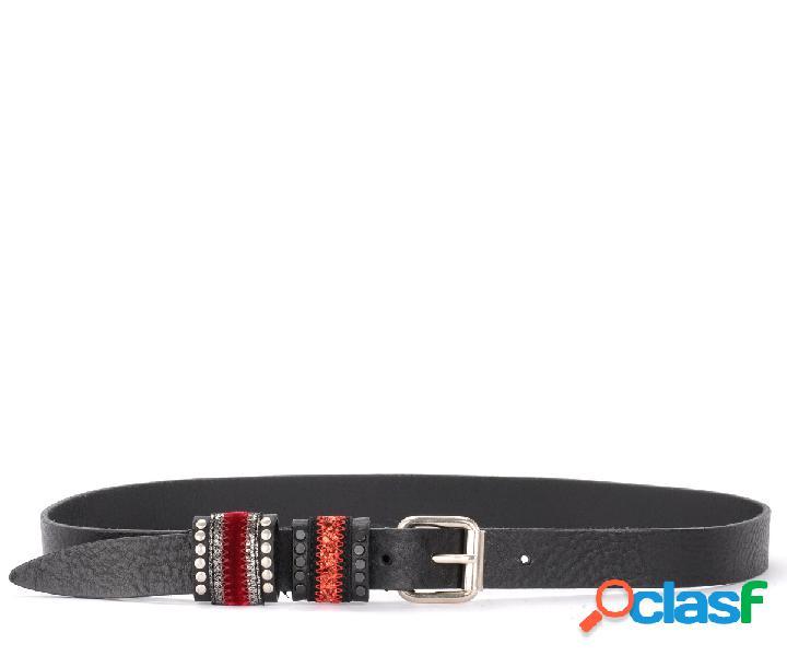 Cintura nanni in pelle nera con borchie piatte e dettagli rossi e argento
