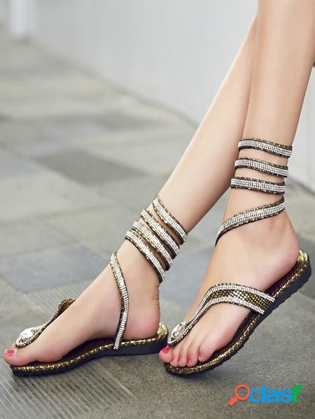 Yoins sandali con punta tonda in pelle di serpente glitterata