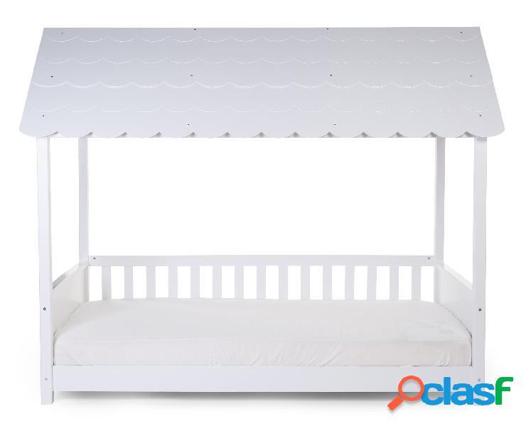 Struttura letto childhome con tetto + 2 sponde 90x200 cm legno bianco