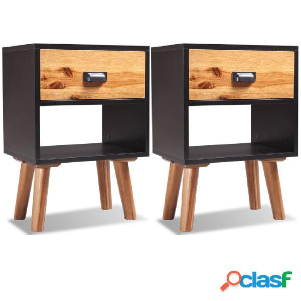 Vidaxl comodini 2 pz in legno massello di acacia 40x30x58 cm