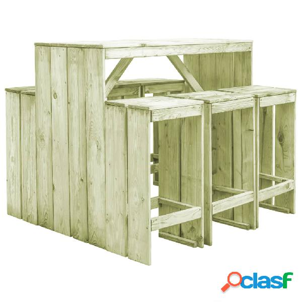 Vidaxl set pranzo da giardino 7 pz in legno di pino impregnato