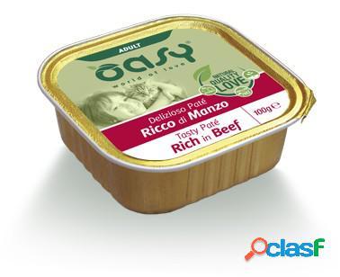 Oasy gatto vaschetta umido delizioso patè adulto al manzo 100 gr