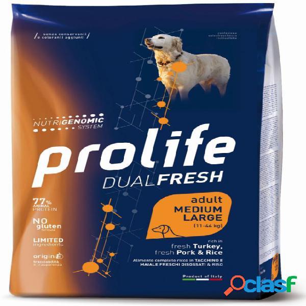 Prolife cane dual fresh adult medium large tacchino maiale kg 12 -...