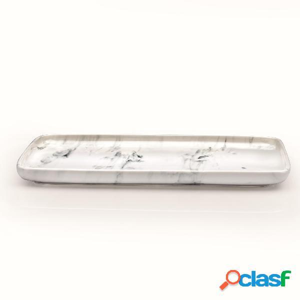 Piatto in porcellana marmo grigio rettangolare da portata profil tables 26x18,5xh2,5 cm lavabile in lavastoviglie, adatto al microonde decoro sotto smalto colore marmo grigio
