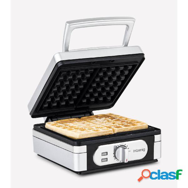 Waffle maker elettrica, 2 waffle per waffle 15 x 10 cm, cottura omogenea temperatura regolabile, piastra rimovibile antiaderente, facile da pulire e da riporre