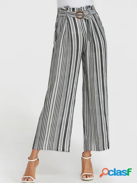 Yoins striscia nera cintura design gamba larga pantaloni