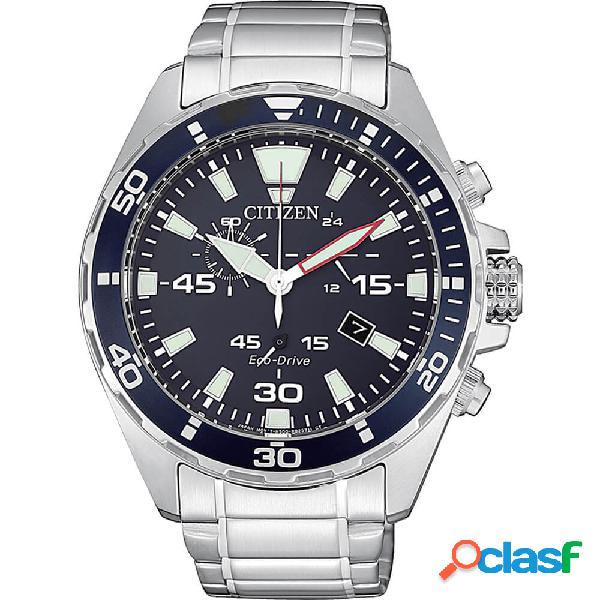 Orologio citizen eco drive cronografo in acciaio - crono sport - at2430-80e