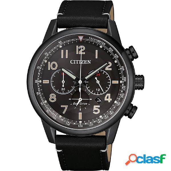 Orologio citizen eco drive cronografo in acciaio nero e pelle - millitary - ca4425-28e