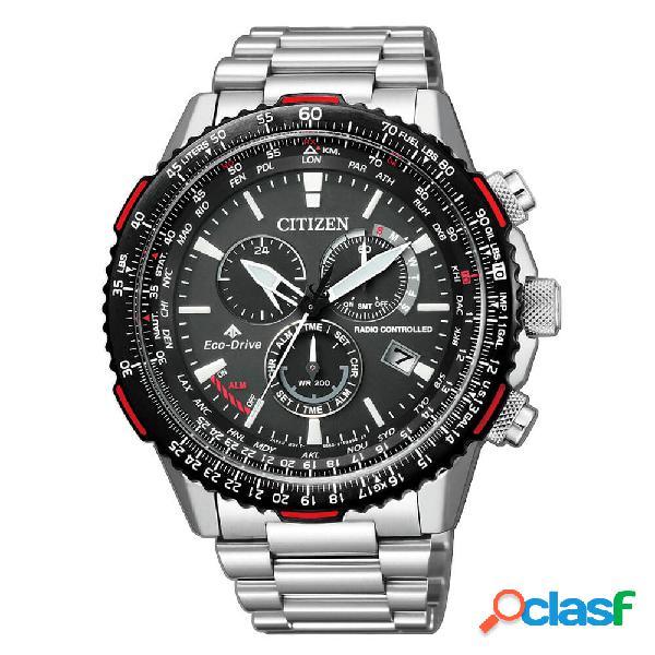 Orologio citizen in acciaio da uomo smartwatch radiocontrollato eco drive - crono pilot - cb5001-57e