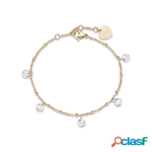 Bracciale in acciaio ip gold con cristalli bianchi