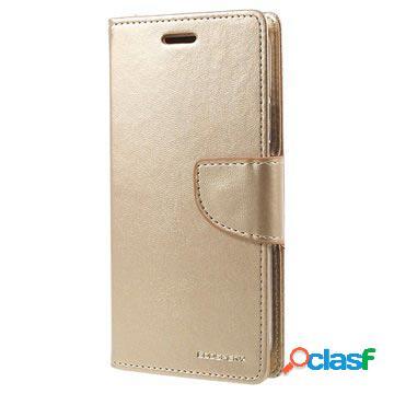 Custodia a portafoglio mercury goospery bravo diary per iphone x - color oro