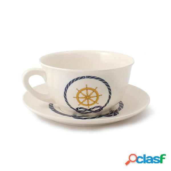 Tazza da colazione con piattino, in melamina ø 12,4 xh 6,8 cm capacità 480 ml colore: timone