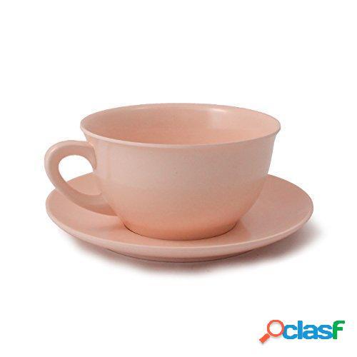 Tazza da colazione con piattino in melamina ø12,4 xh 6,80 cm piattino ø17 cm capacità 480 ml colore rosa