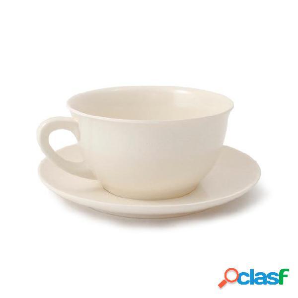 Tazza da colazione con piattino in melamina ø12,4 xh 6,80 cm piattino ø17 cm capacità 480 ml colore bianco avorio