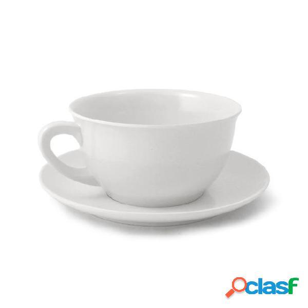 Tazza da colazione con piattino in melamina ø12,4 xh 6,80 cm piattino ø17 cm capacità 480 ml colore bianco ottico