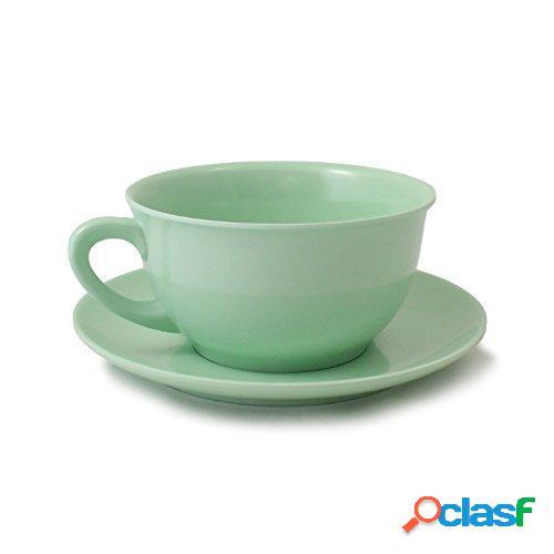 Tazza da colazione con piattino in melamina ø12,4 xh 6,80 cm piattino ø17 cm capacità 480 ml colore rosso