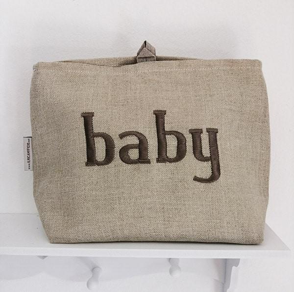 Necessaire neonato in lino - il ricamificio