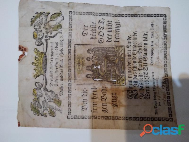 Antico certificato di battesimo in lingua tedesca del 1780