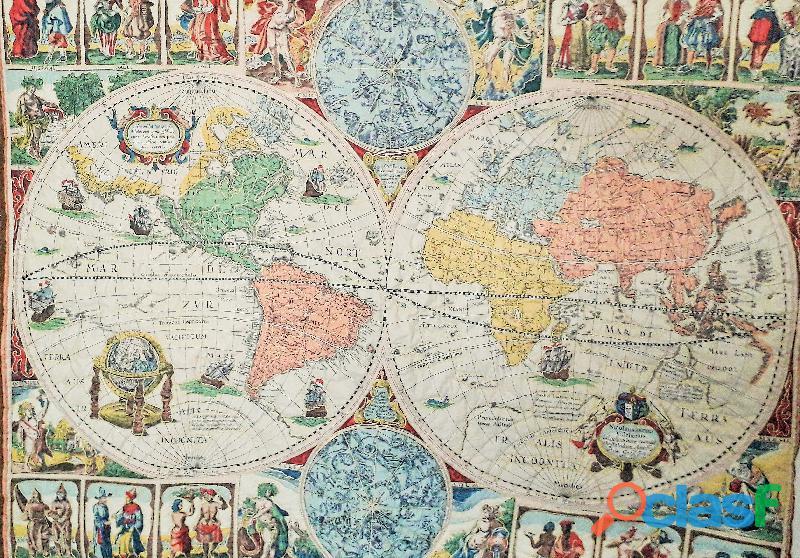 "Arazzo vintage trapuntato riproduzione "" antica mappa mondo nicolaus ioannis vischerius 1652"""