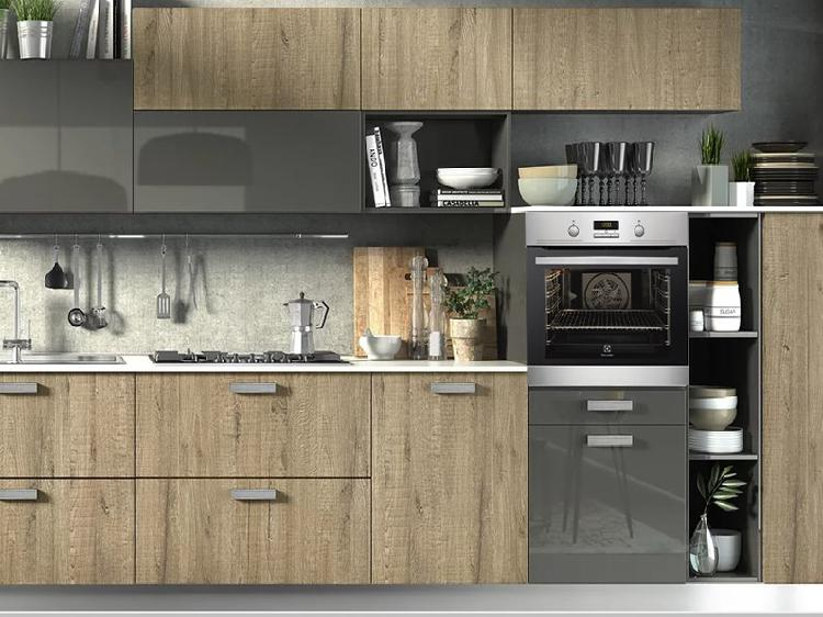 Cucina moderna essenza rovere e grigio laccato in offerta