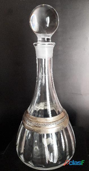 Elegante Decanter/ bottiglia da whisky in cristallo massiccio e argento