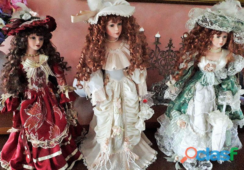 Trittico grandi bambole in porcellana vintage da collezione altezza cm .60,dame vittoriane