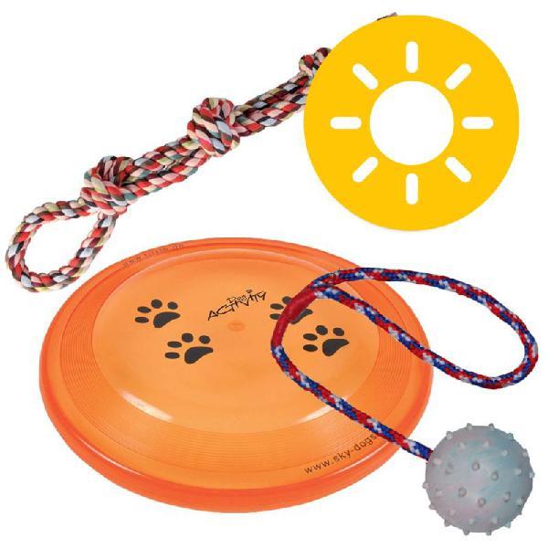 Set giochi estate trixie: doppia corda, frisbee e palla in