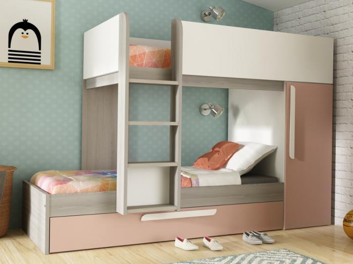 Letto a castello antonio3x90 x 190 armadio rosa e bianco