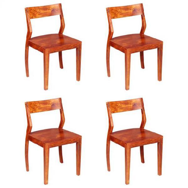 Vidaxl sedie da pranzo 4 pz massello di acacia con finitura