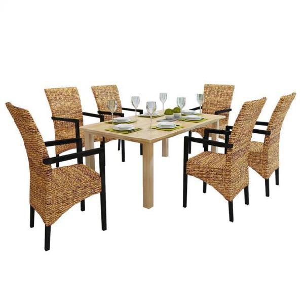 Vidaxl sedie da pranzo 6 pz in abaca e legno massello di