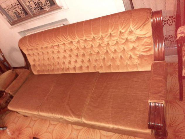 Divano letto 3 posti con 2 poltrone in legno e velluto
