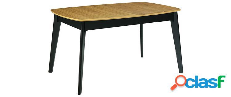 Tavolo estensibile legno e nero l140-180 cm meena