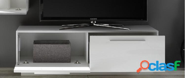 Mobile porta tv di design eternel con cassetto e contenitore bianco lucido l138 cm