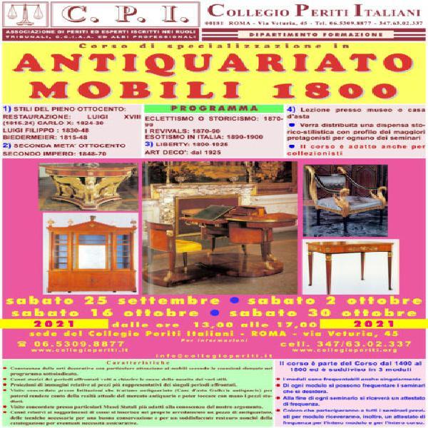 Corso antiquariato mobili 1800 roma 25 settembre 2021