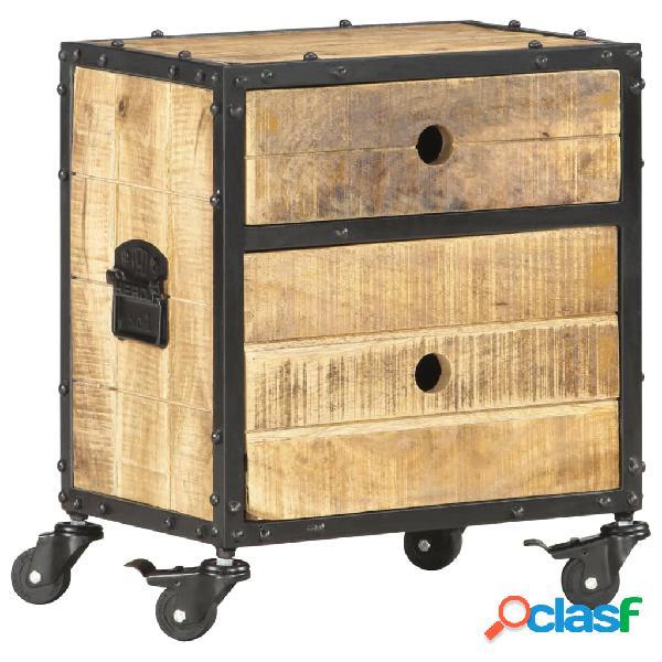 Vidaxl comodino 40x30x50 cm in legno massello di mango grezzo