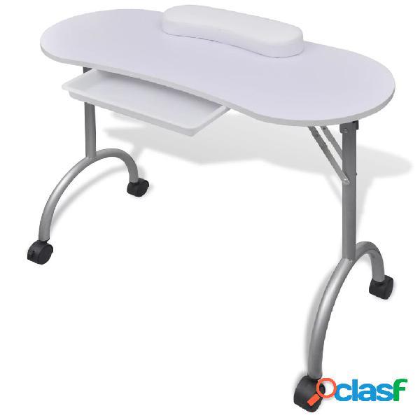 Vidaxl tavolo pieghevole per manicure con rotelle bianco