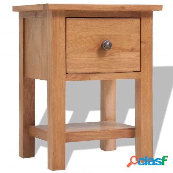 Vidaxl comodino 36x30x47 cm in legno massello di rovere