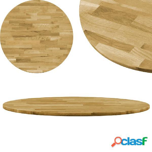 Vidaxl piano del tavolo legno massello di rovere circolare 23mm 400mm