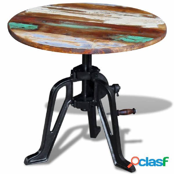 Vidaxl tavolino in legno massello anticato e ghisa 60x(42-63) cm