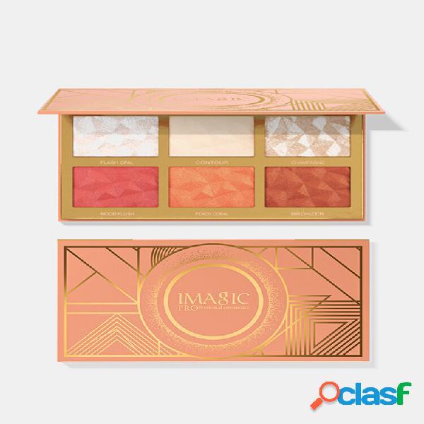 6 colori combinazione high-gloss blush evidenziatori palette face brighten complexion blush