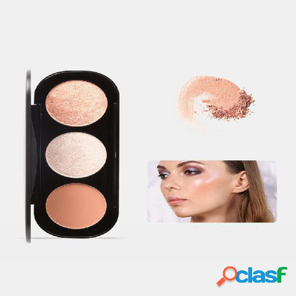 3 colors blush palette brighten complexion three-dimensional highlighters palette