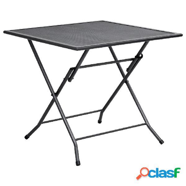 Vidaxl tavolo pieghevole a rete 80x80x72 cm in acciaio antracite
