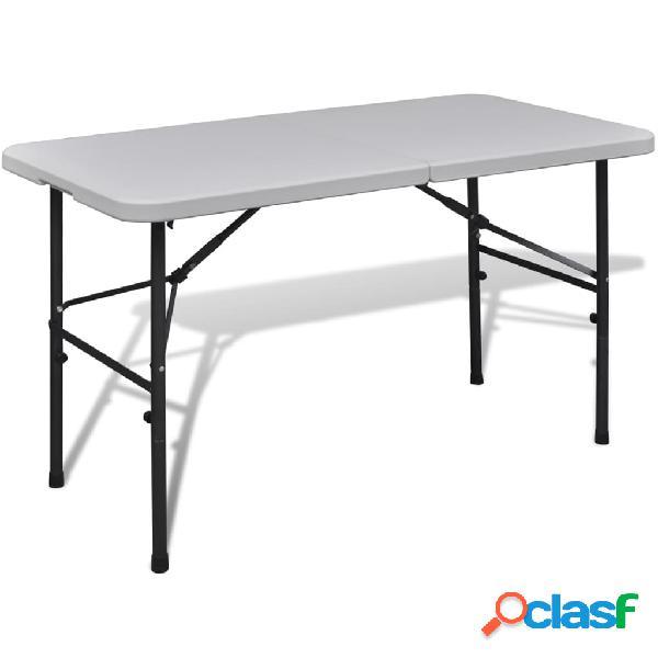 Vidaxl tavolo pieghevole da giardino in hdpe 122 cm bianco