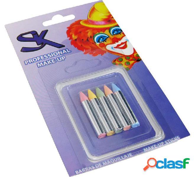 Blister di 5 barre di colori pastello di 6x45 mm