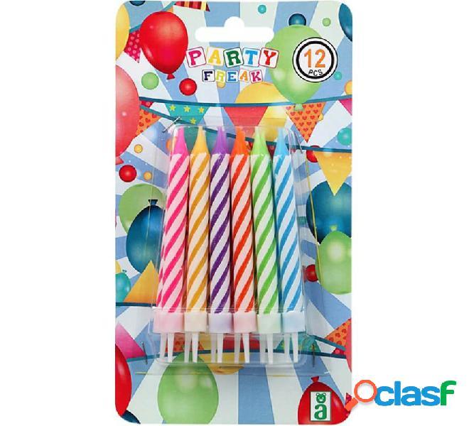 Blister di 12 grandi candele multicolori
