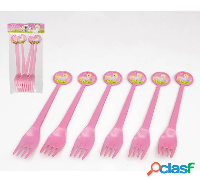 Blister da 6 forchette in plastica unicorno da 17 cm