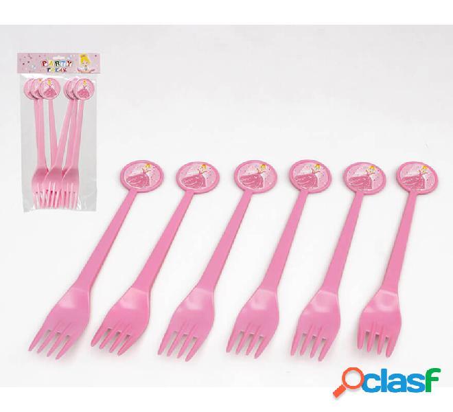 Blister da 6 forchette principessa in plastica da 17 cm