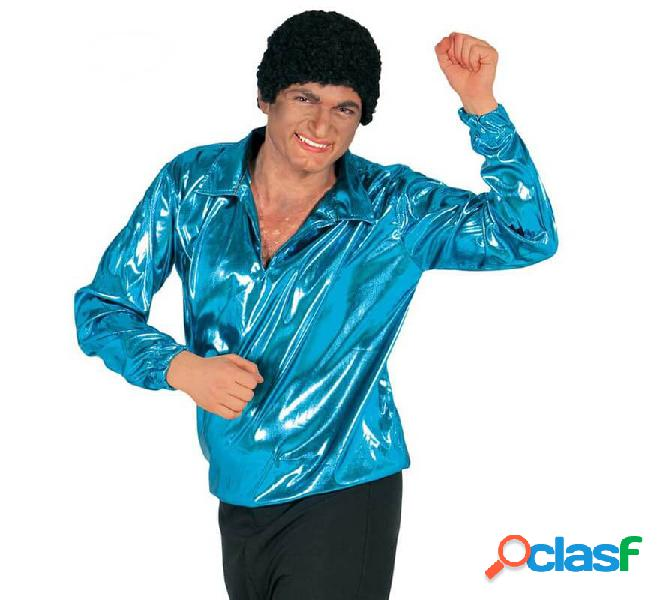 Camicia da discoteca da uomo con glitter blu turchese