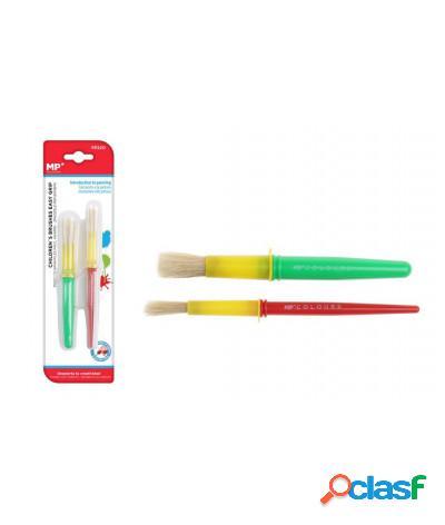 Pennello pittura per bambini scolastico in plastica 2 pezzi